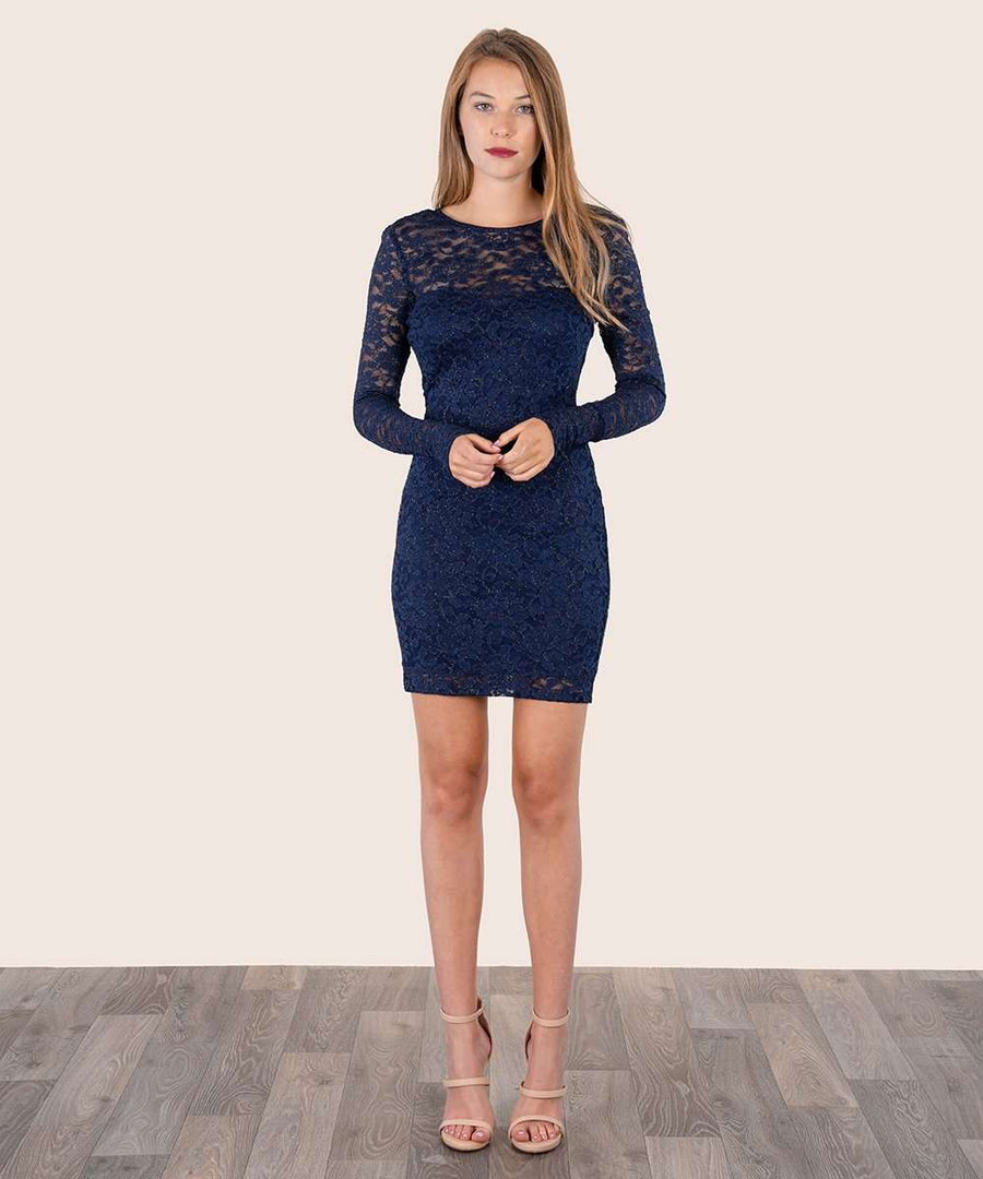 Sweet And Scalloped Lace Dress-Dressy Dresses-Large-Navy/Gold-Speechless