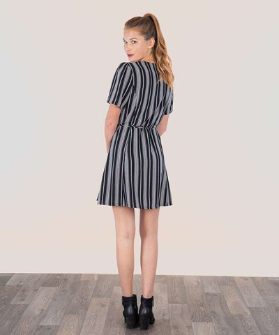 Jordy Wrap Dress-Casual Dresses-Large-Black/White-Speechless