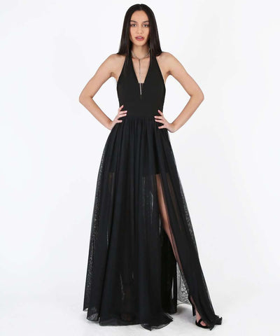 Mila Exclusive Tulle Layered Dress-Formal Dress-1-Black-Speechless