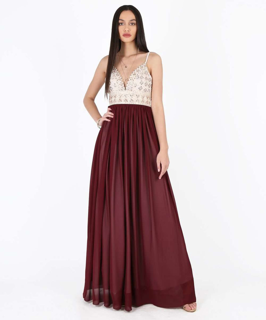 Selena Exclusive Beaded Ball Gown Dress-Formal Dress-1-Wine/Nude-Speechless