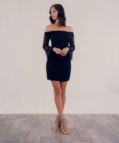 Midnight In Paris Off The Shoulder Dress-Dressy Dresses-Speechless