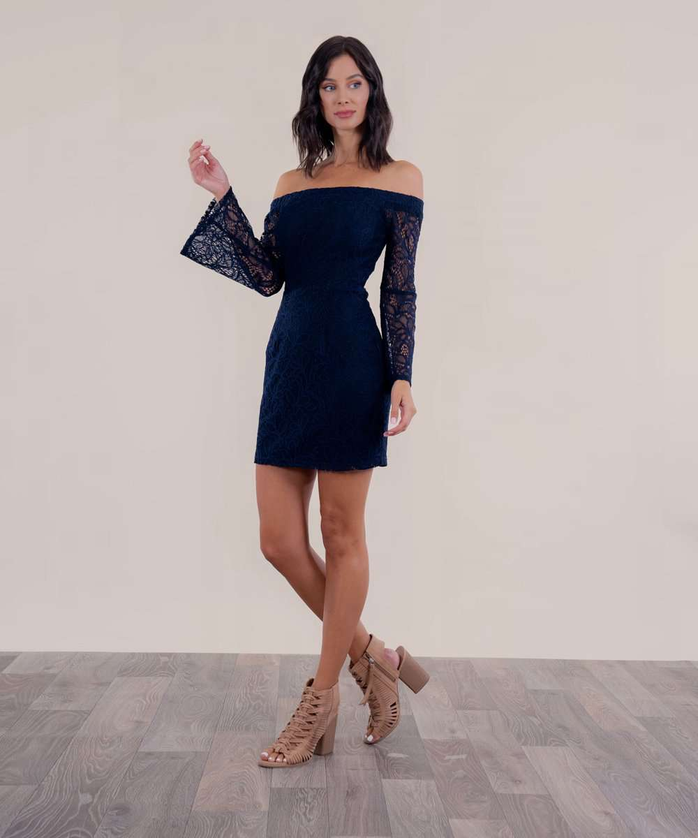 Midnight In Paris Off The Shoulder Dress-Speechless
