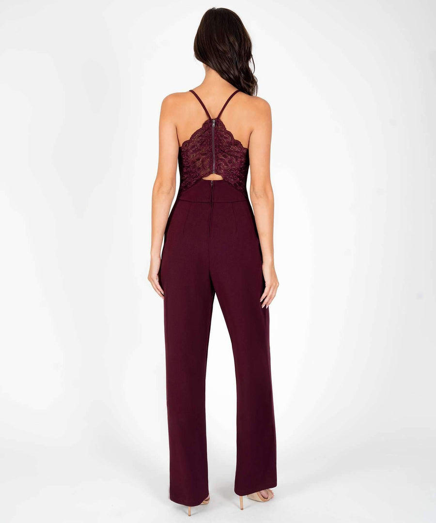 Henley Lace Back Jumpsuit-Jumpsuit-Speechless.com