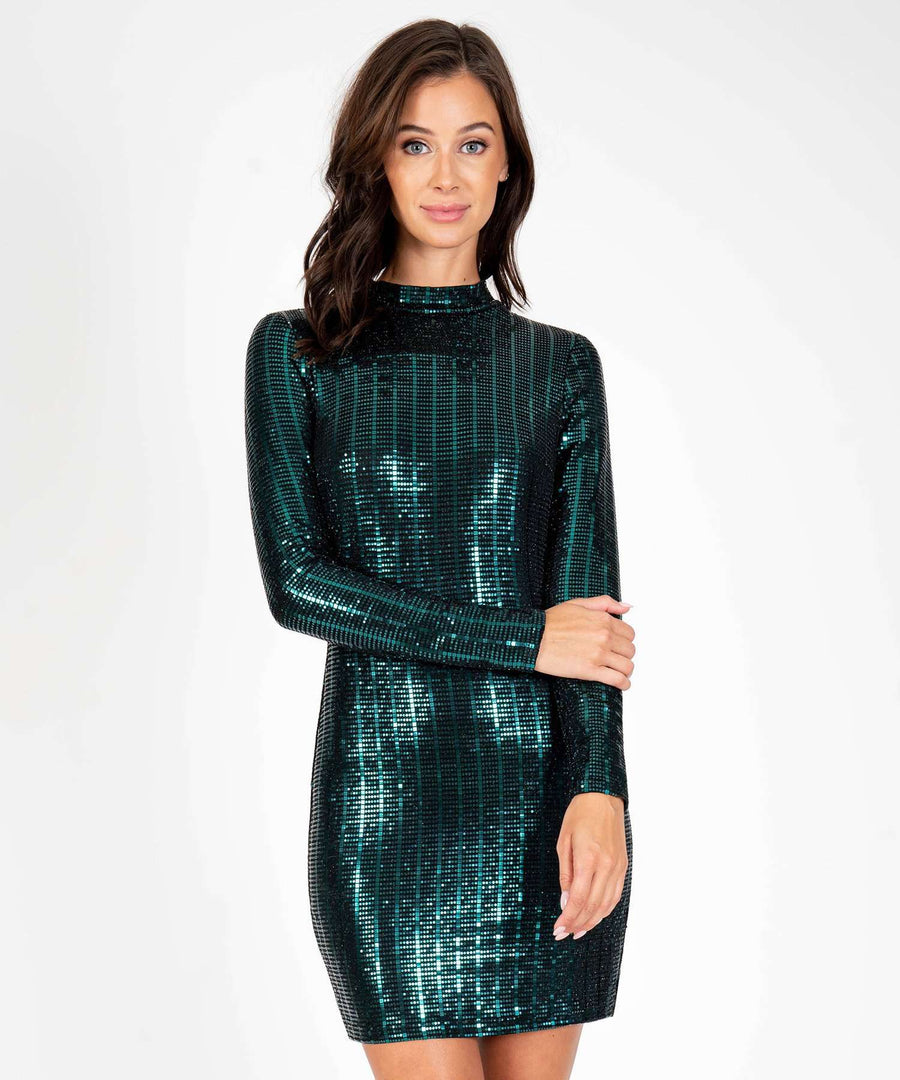 Don't Mock Me Glitter Long Sleeve Bodycon Dress-New-X SMALL-Black/Hunter-Speechless.com
