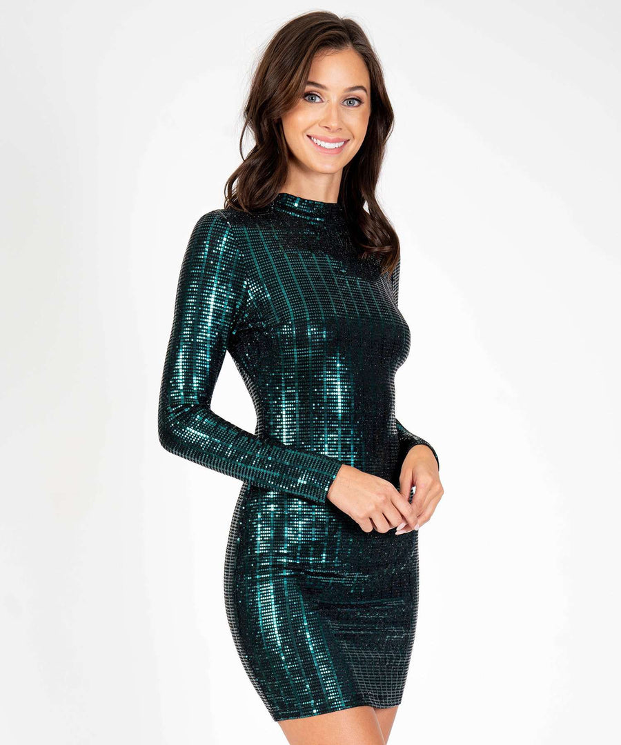Don't Mock Me Glitter Long Sleeve Bodycon Dress-New-Speechless.com