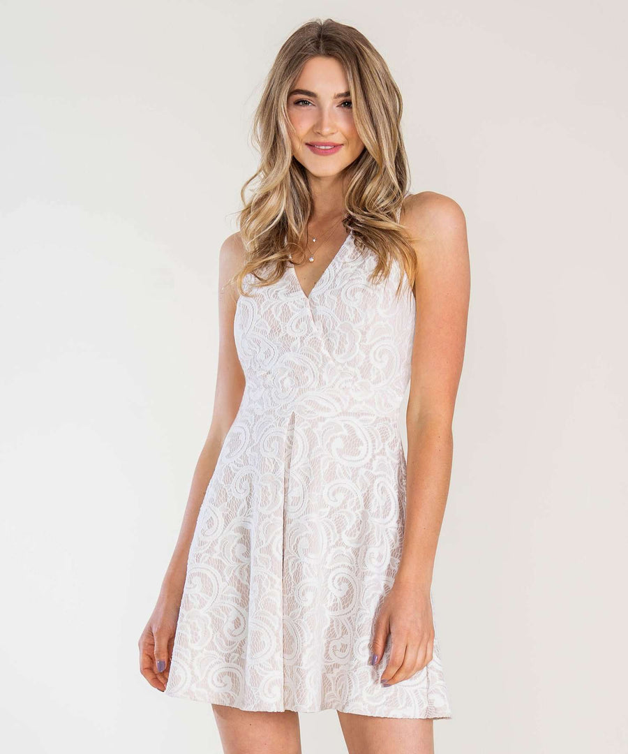 Crossed Off Skater Dress-Dressy Dresses-0-Nude/Ivory-Speechless