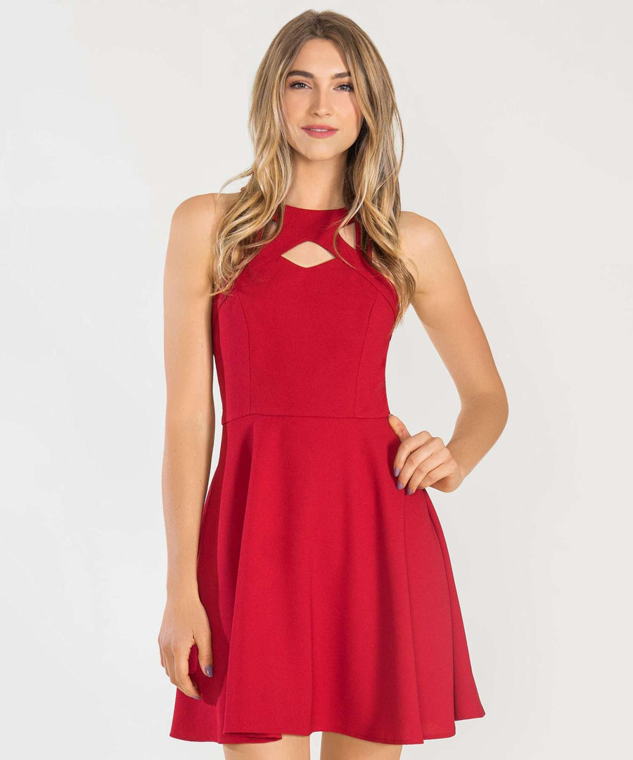 Call Me Maybe Lacey Skater Dress-Dressy Dresses-0-Cherry Red-Speechless
