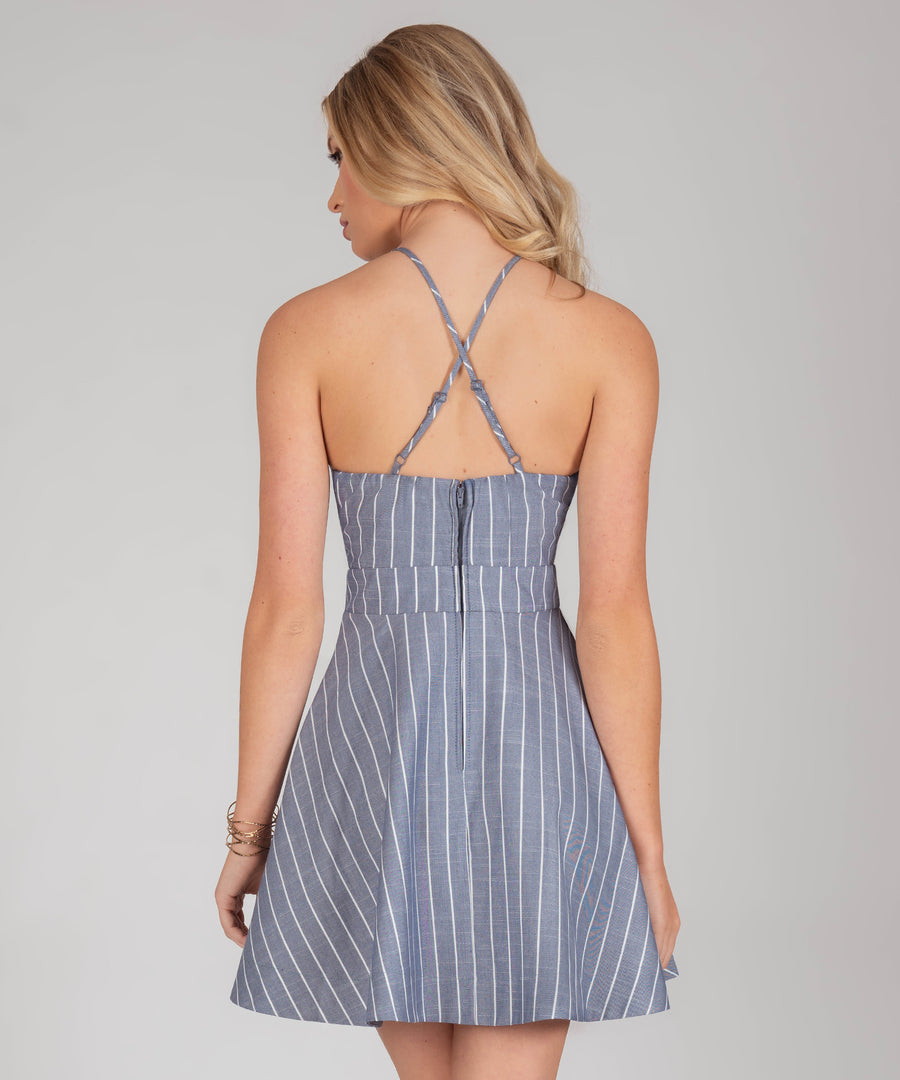 Leighton Stripe Layered Skater Dress-Casual Dresses-Speechless.com