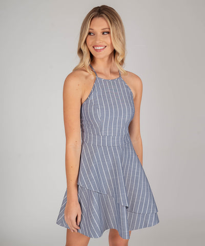 Leighton Stripe Layered Skater Dress