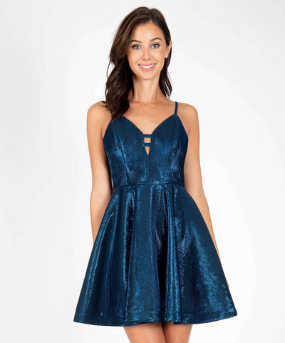 Heart Breaker Metallic Party Dress-Navy-Speechless.com