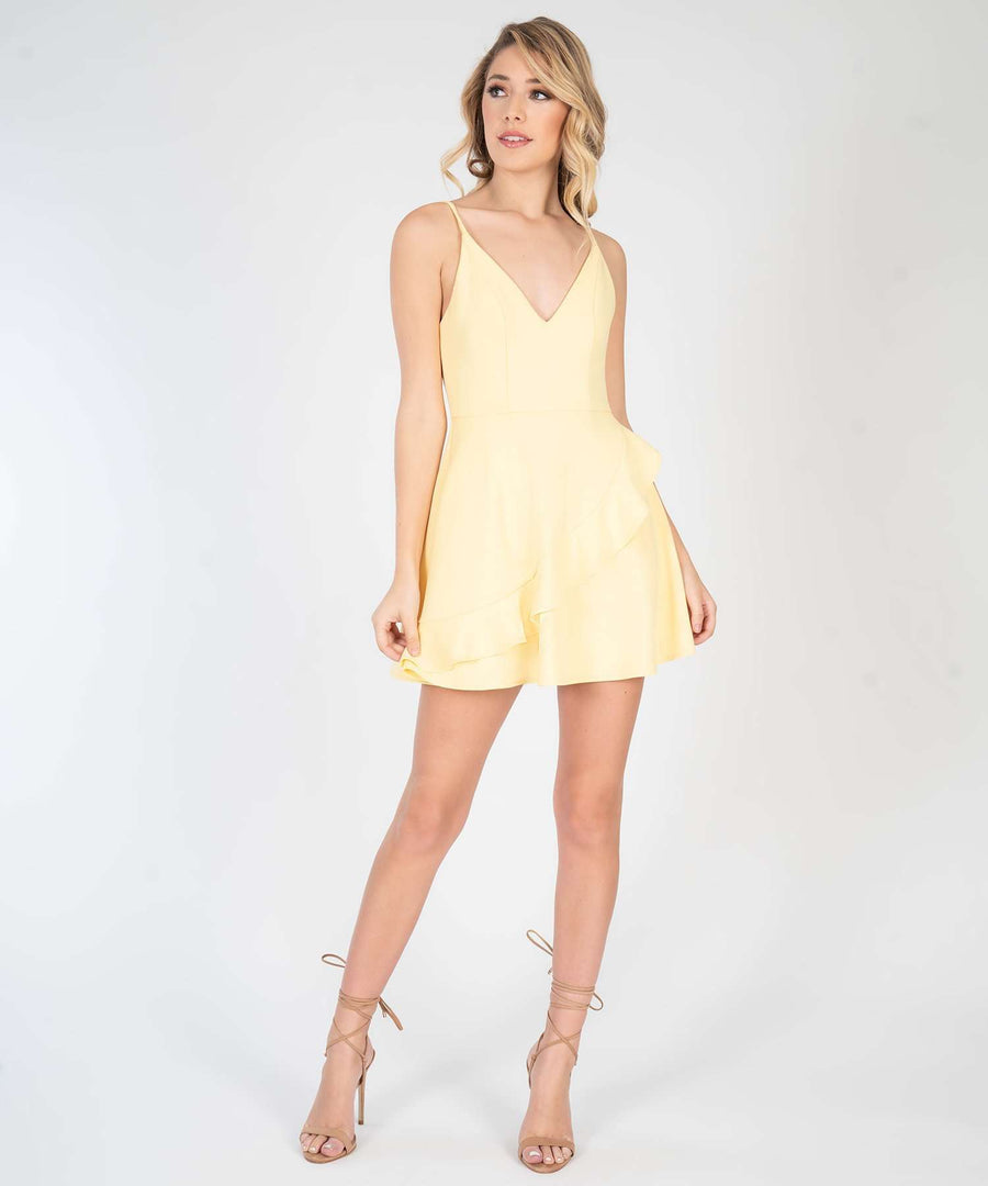 Ella Solid Ruffle Skater Dress-New-Speechless.com