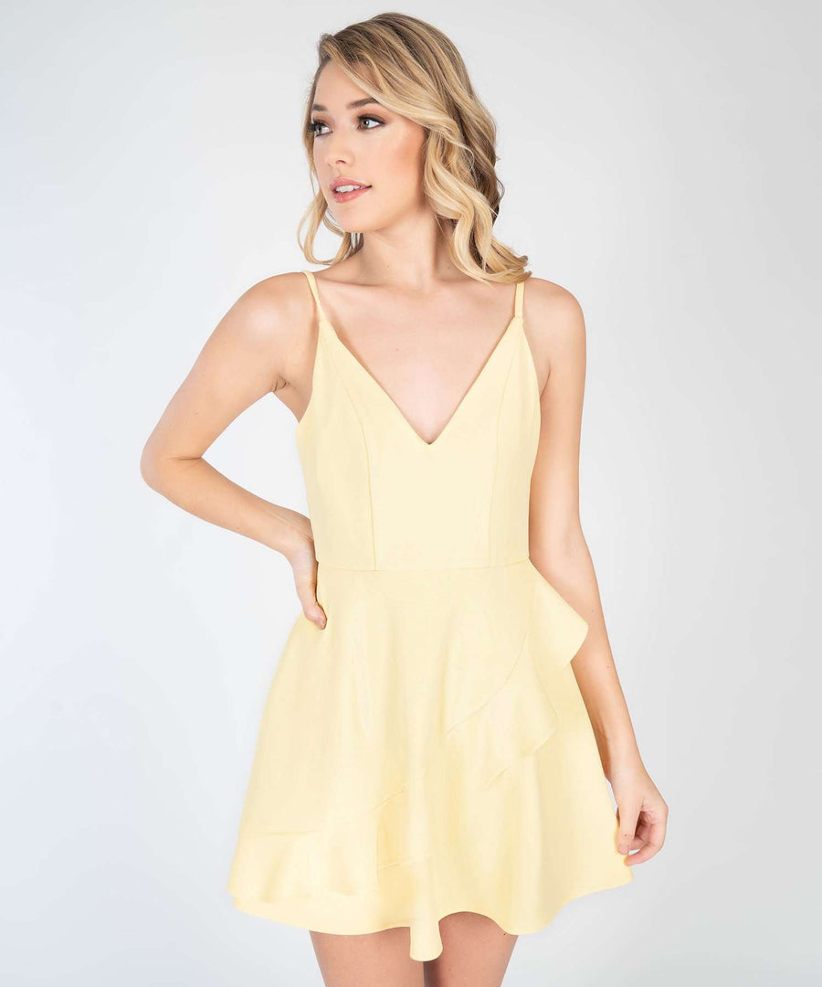 Ella Solid Ruffle Skater Dress-New-XX SMALL-Lemon-Speechless.com