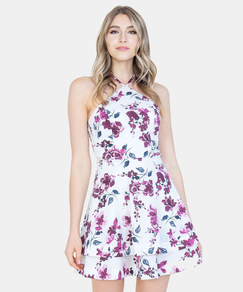 Floral Layered Skater Dress-Speechless