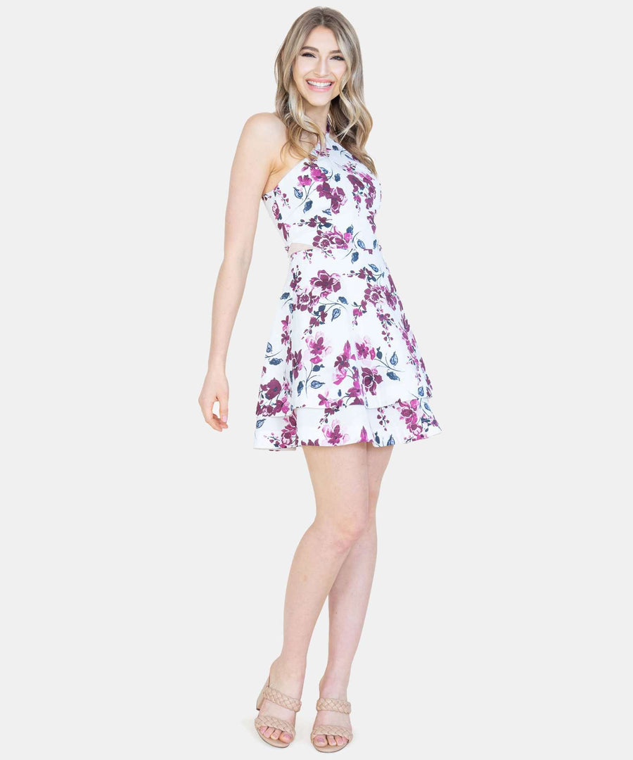 Floral Layered Skater Dress-Casual Dresses-Speechless