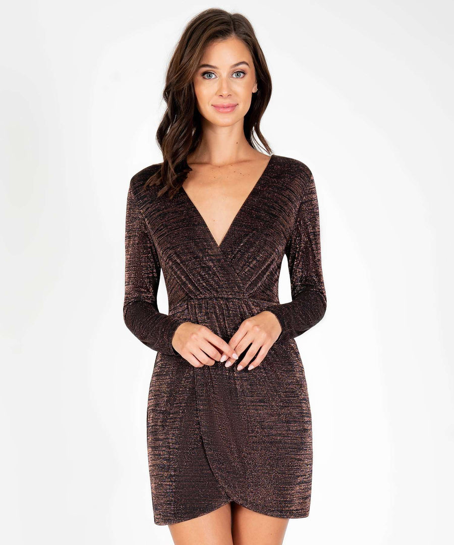 Give Me The Glitz Long Sleeve Bodycon Dress-New-X SMALL-Black/Copper-Speechless.com
