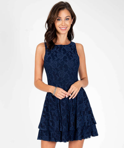 Charlotte Layered Lace Dress-New-0-Navy-Speechless.com