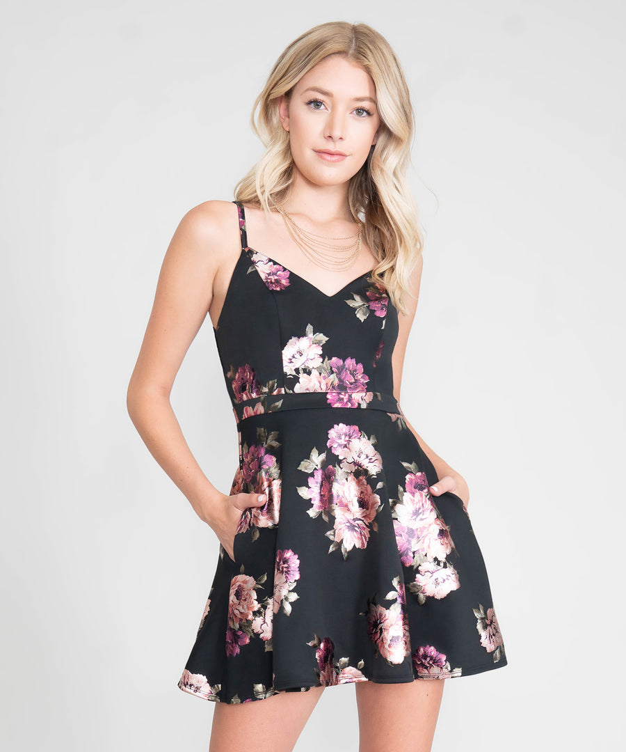 Lacey Lace Back Printed Dress-Dressy Dresses-Speechless
