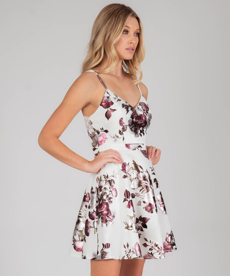 Lacey Lace Back Printed Dress-Ivory Merlot-Speechless.com