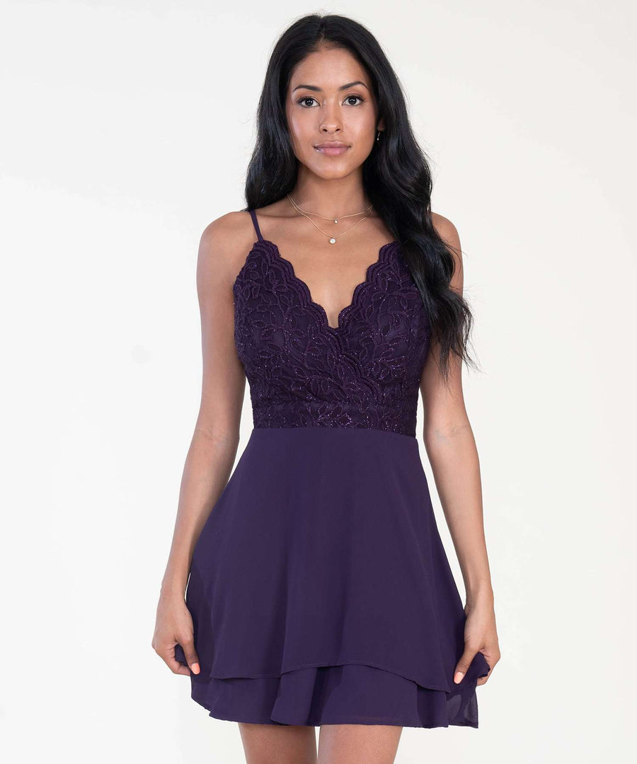 Monique Scallop Surplice Dress-Dressy Dresses-0-Mulberry-Speechless