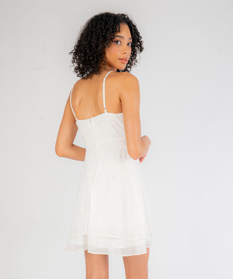 Monique Scallop Surplice Dress-Dressy Dresses-0-White-Speechless.com