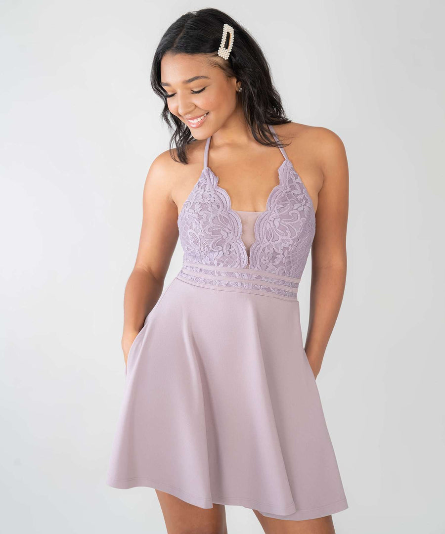 Lotus Skater Dress-Dressy Dresses-0-Dark Lilac-Speechless