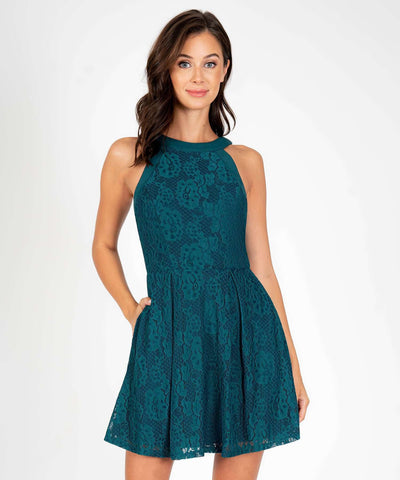 Ava Lace Skater Dress-New-XX SMALL-Evergreen-Speechless.com