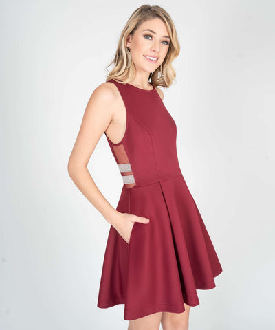 Mara Jewel Sides Skater Dress - Image 2
