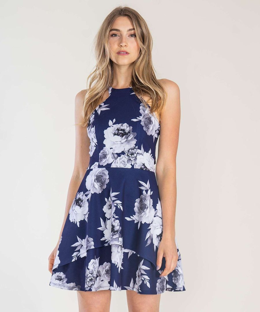 Lillian Skater Dress-Dressy Dresses-0-Navy/Grey-Speechless
