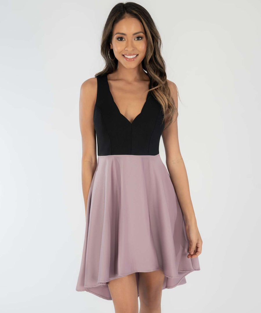 Lisa Scallop High-Low Dress-Dressy Dresses-0-Mauve/Black-Speechless.com