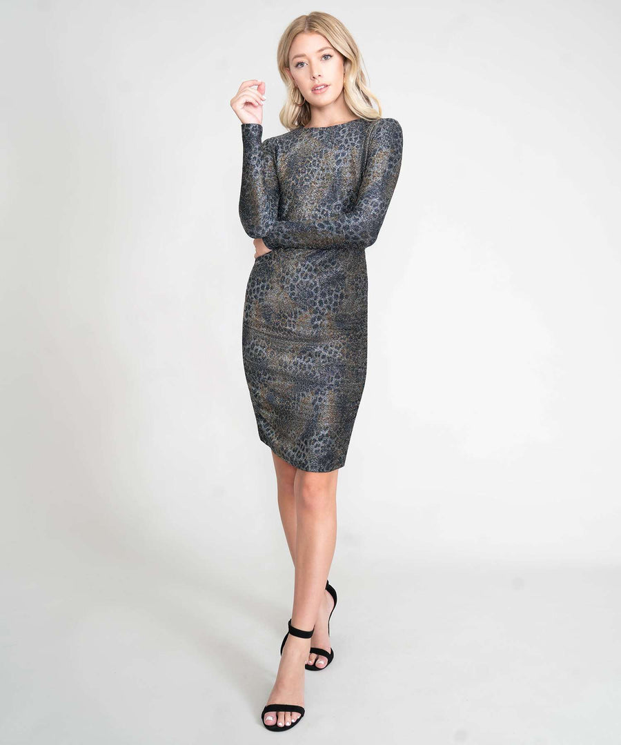 Into The Wild Glitter Bodycon Dress-New-XX SMALL-Black/Silver/Gold-Speechless.com