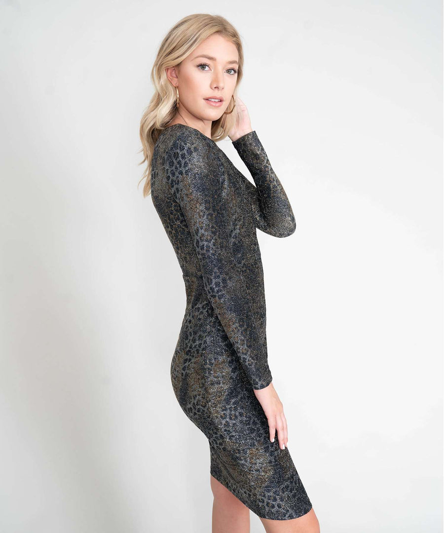 Into The Wild Glitter Bodycon Dress-New-Speechless.com