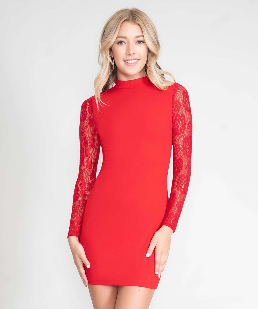 Dahlia Long Sleeve Bodycon Dress-New-XX SMALL-Red-Speechless.com