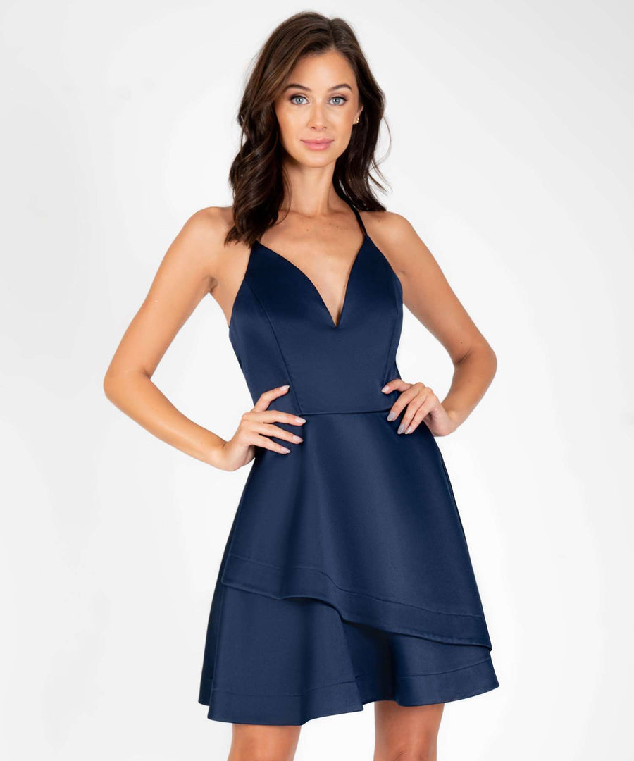 Spin Me Around V Wire Party Dress-New-0-New Navy-Speechless.com