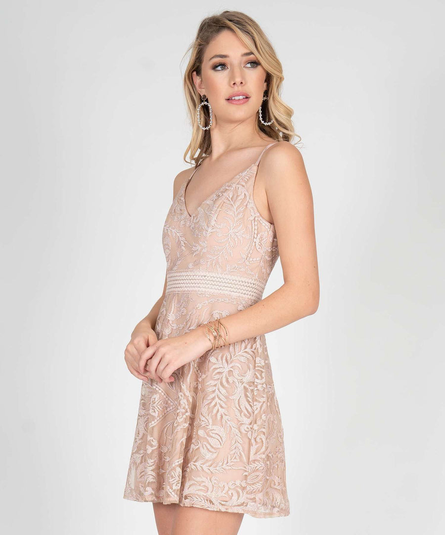 Ella Embroidered Illusion Waist Skater Dress-Dressy Dresses-Speechless.com