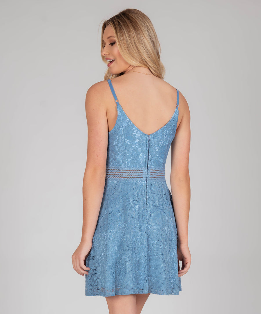 Ella Lace Illusion Waist Skater Dress-Dressy Dresses-Speechless.com