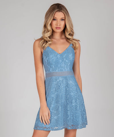 Ella Lace Illusion Waist Skater Dress