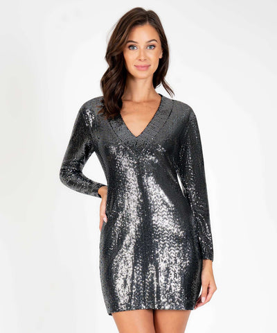 Rain Or Shine Slim Fit Dress-Black Silver-Speechless.com