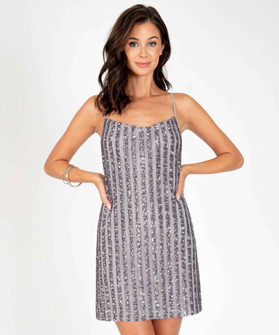 Astrid Sequin Slip Dress-Silver-Speechless.com