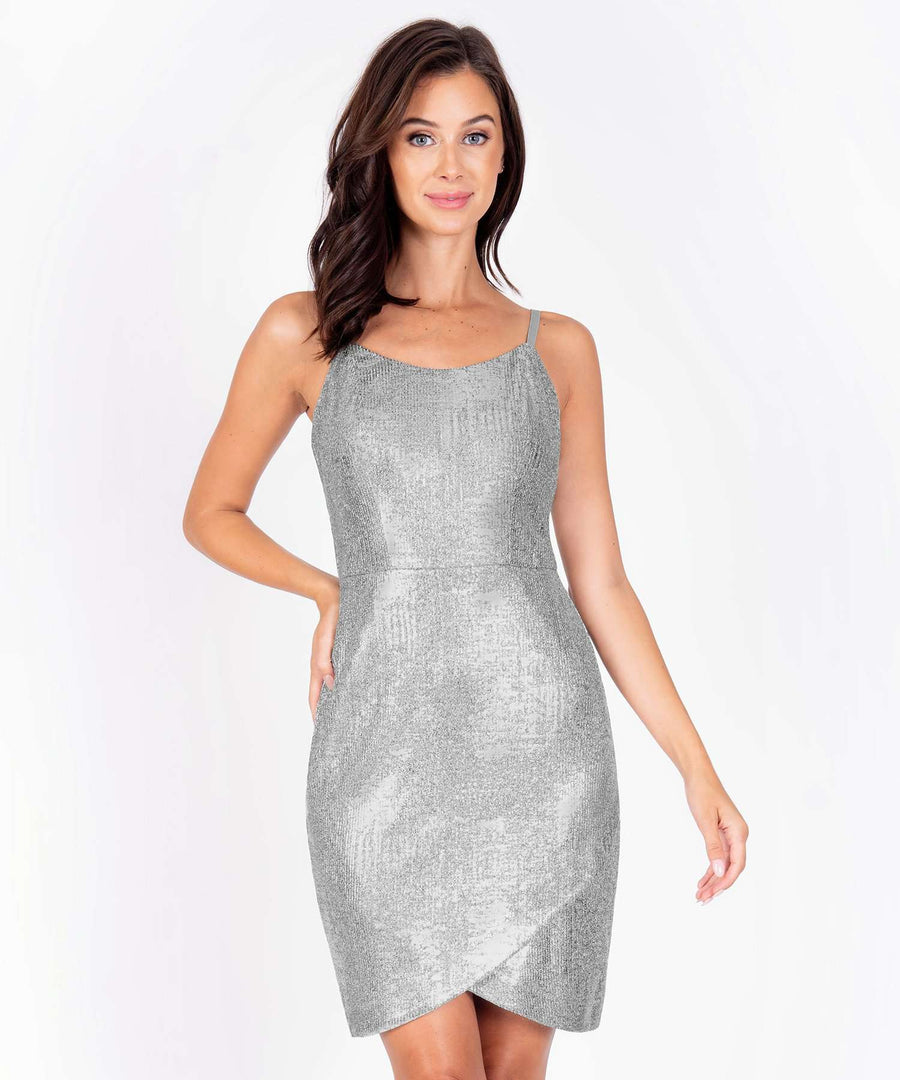 Euphoria Metallic Bodycon Dress-New-0-Silver-Speechless.com
