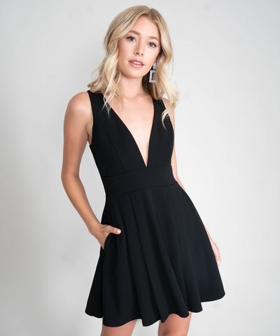 Tatum Exclusive Deep V Skater Dress