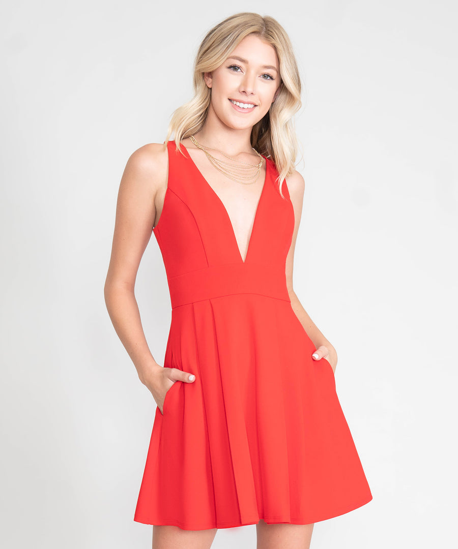 Tatum Exclusive Deep V Skater Dress-Dressy Dresses-Speechless