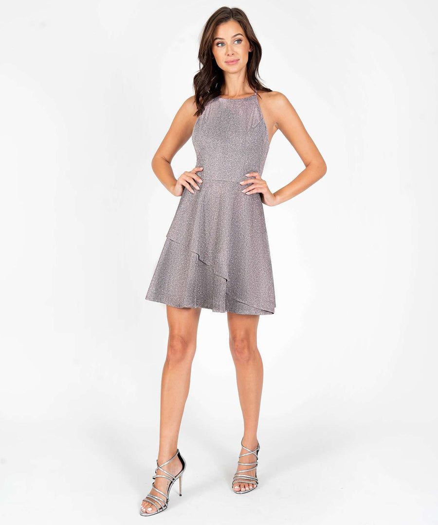 Space Out Metallic Layered Skater Dress-New-Speechless.com