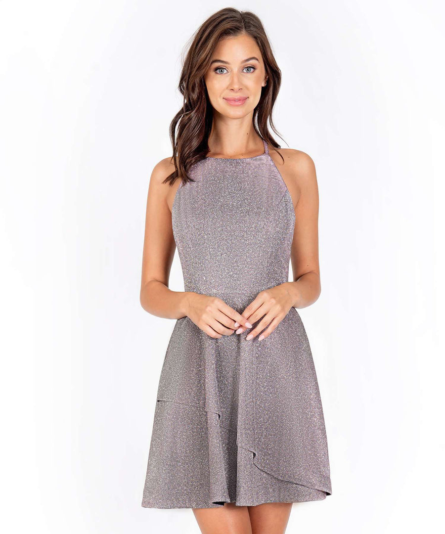 Space Out Metallic Layered Skater Dress-New-0-Blush/Silver-Speechless.com
