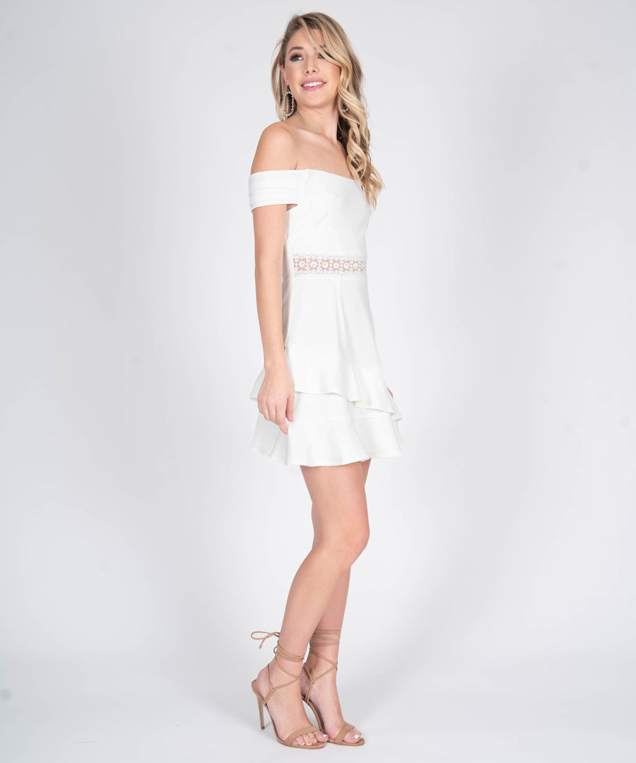 Carly Off The Shoulder Dress-White-Speechless.com