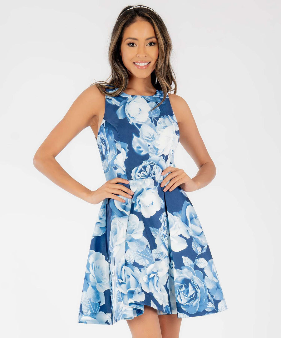 Georgia Printed Skater Dress-Dressy Dresses-0-Navy/Blue-Speechless.com