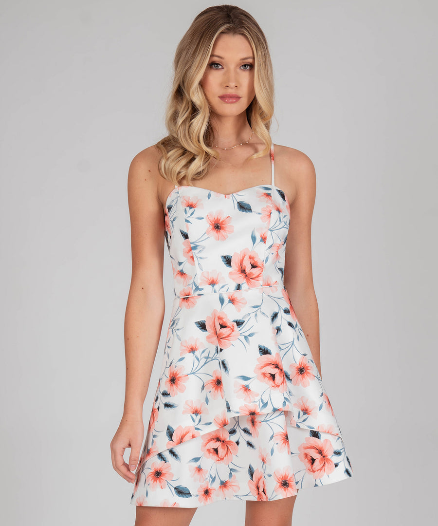 Sylvie Printed Bow Back Dress-Off White/Blush-Speechless.com