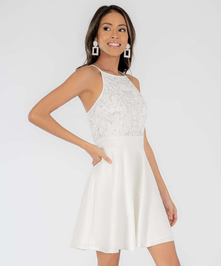 Caviar Skater Dress in White/Silver