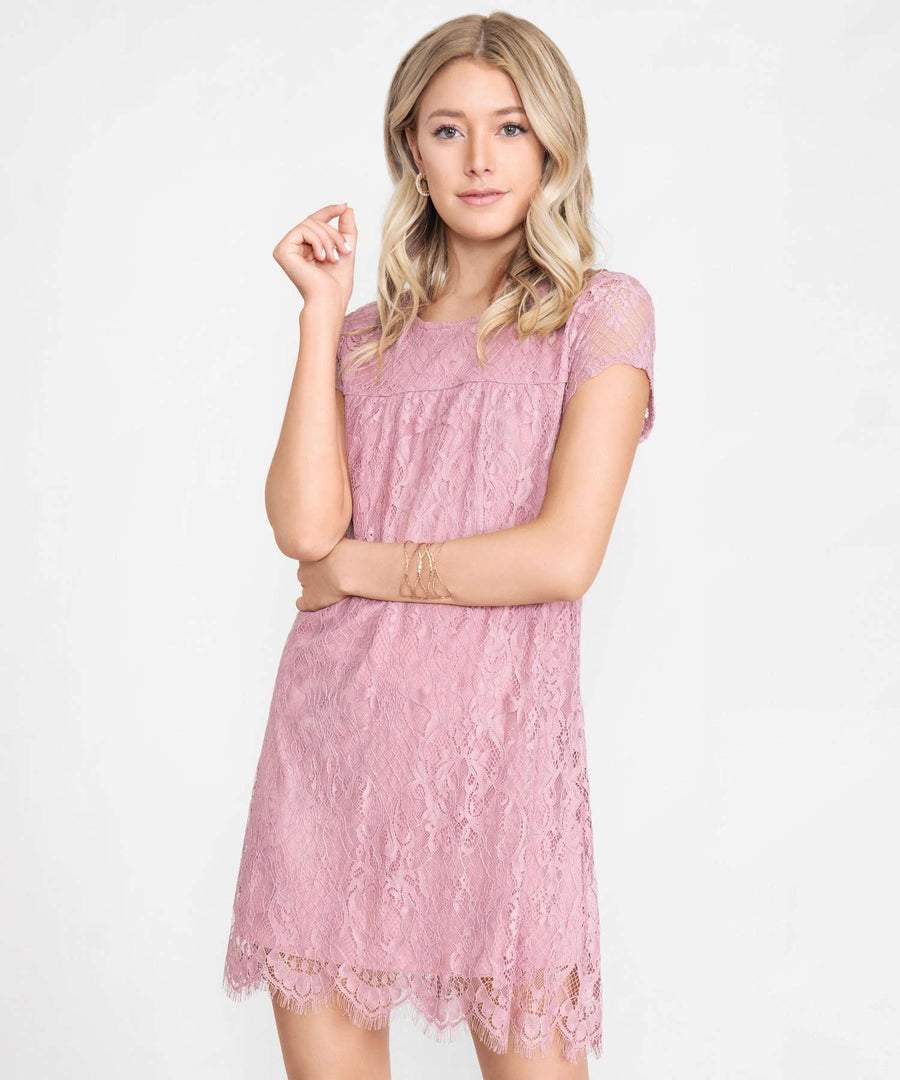 Nora Scallop Shift Dress-Casual Dresses-XX SMALL-Dusty Rose-Speechless