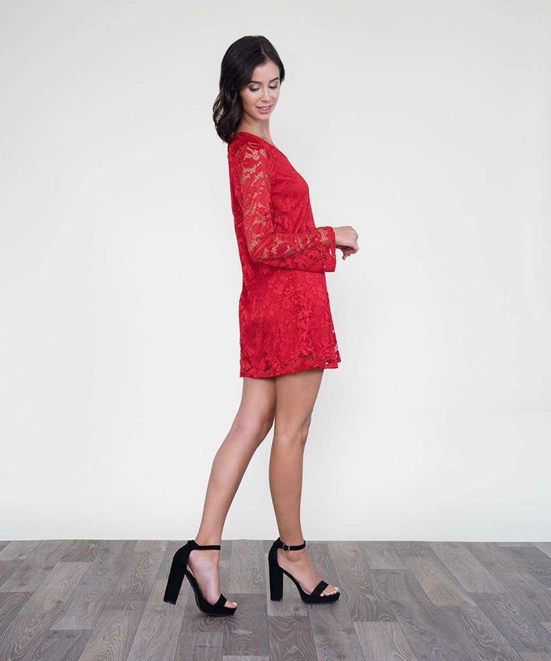 Laced In Love Shift Dress-Speechless