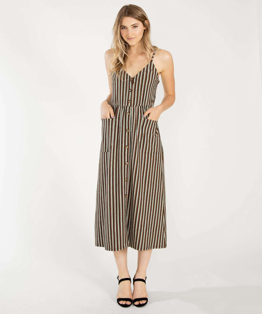 Baskin Button Down Midi Dress-Casual Dresses-XX SMALL-Olive/Rust-Speechless